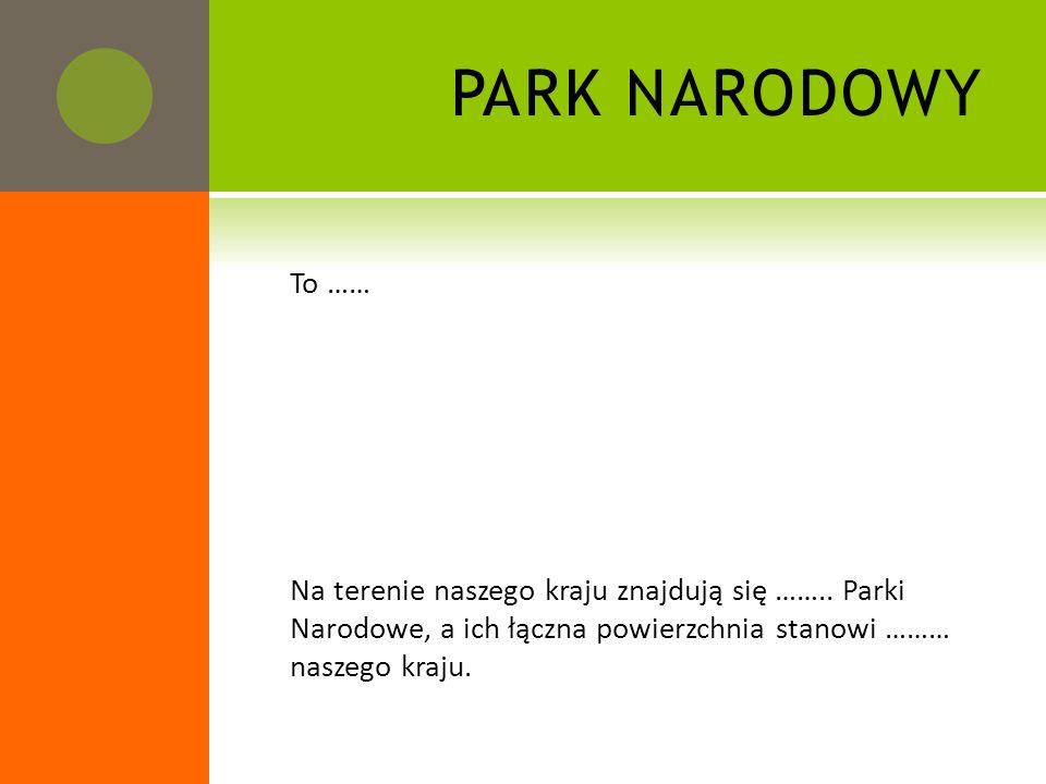 PARK NARODOWY To …… Na terenie naszego kraju znajdują się …….. Parki Narodowe, a ich łączna powierzchnia stanowi ……… naszego kraju.