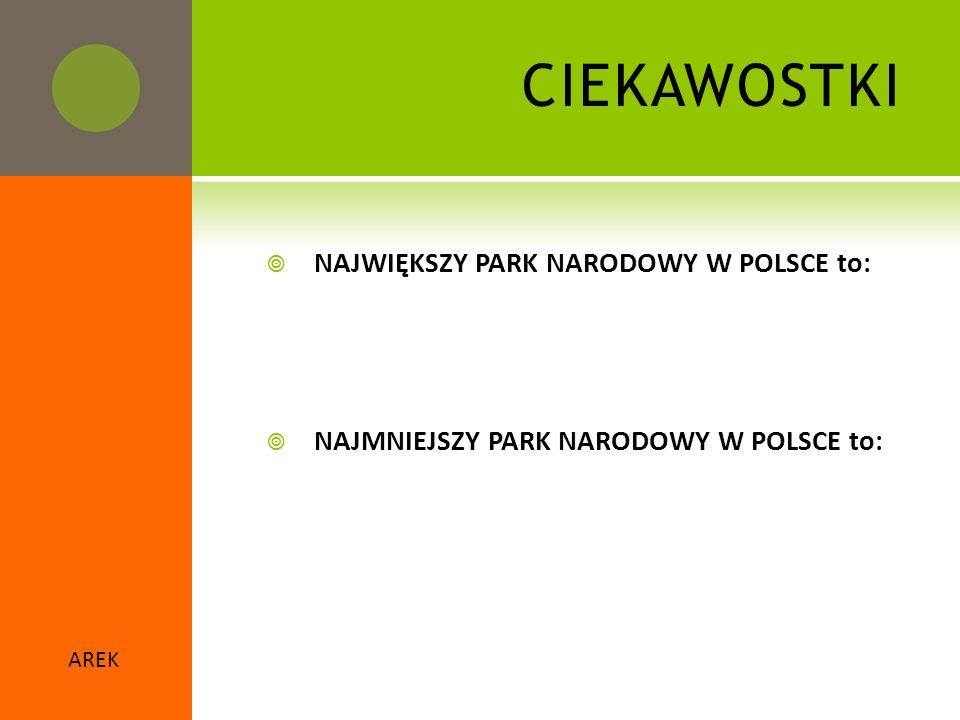  NAJWIĘKSZY PARK NARODOWY W POLSCE to:  NAJMNIEJSZY PARK NARODOWY W POLSCE to: AREK CIEKAWOSTKI