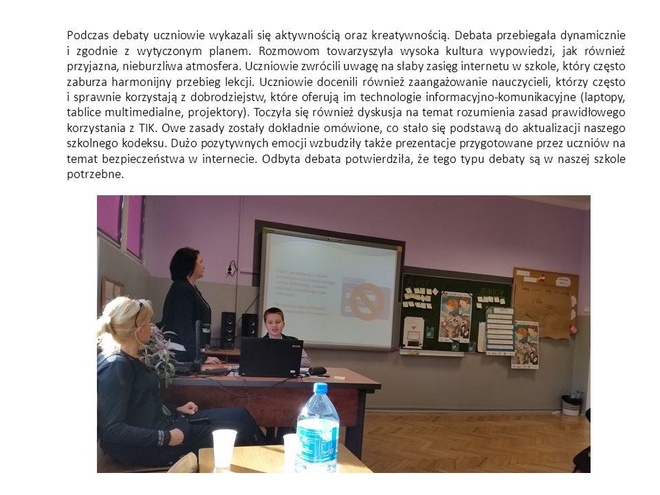 Podczas debaty uczniowie wykazali się aktywnością oraz kreatywnością.
