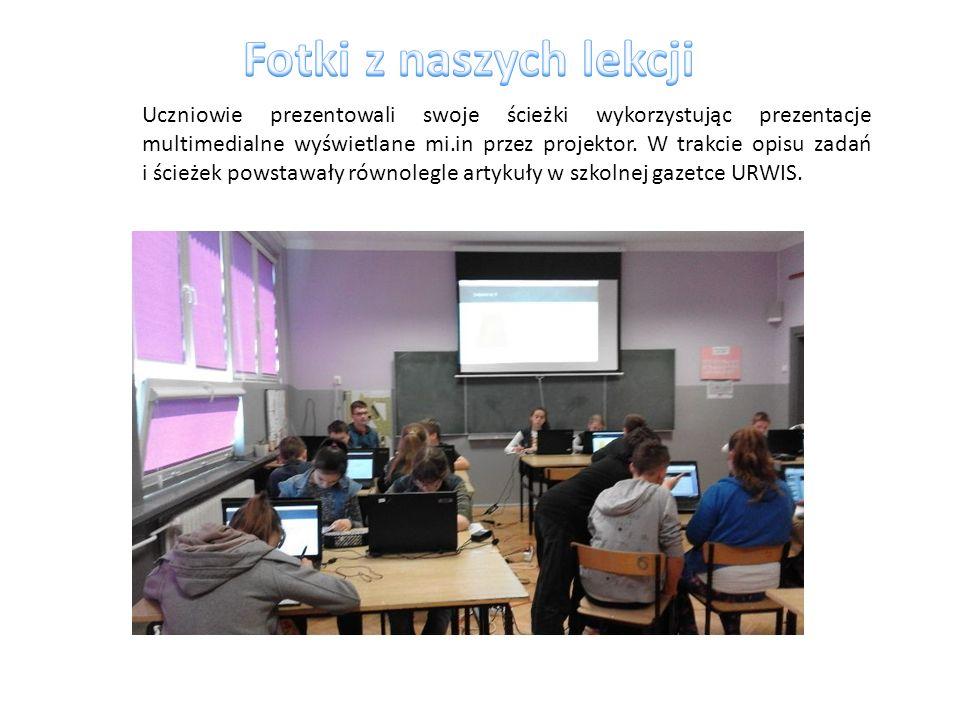 Uczniowie prezentowali swoje ścieżki wykorzystując prezentacje multimedialne wyświetlane mi.in przez projektor.