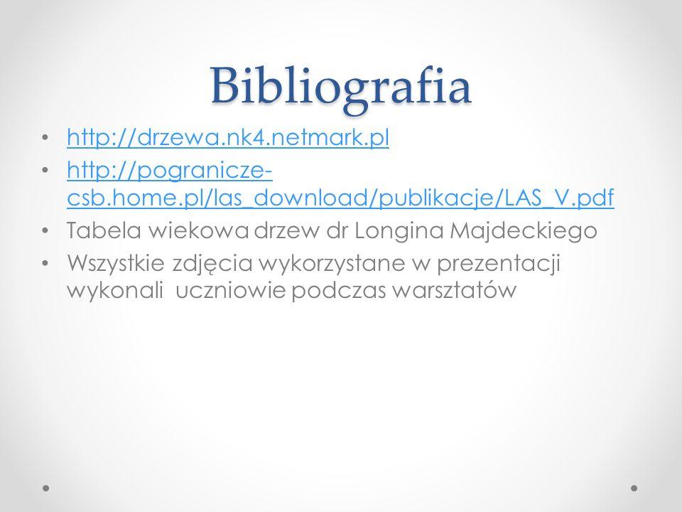 Bibliografia http://drzewa.nk4.netmark.pl http://pogranicze- csb.home.pl/las_download/publikacje/LAS_V.pdf http://pogranicze- csb.home.pl/las_download