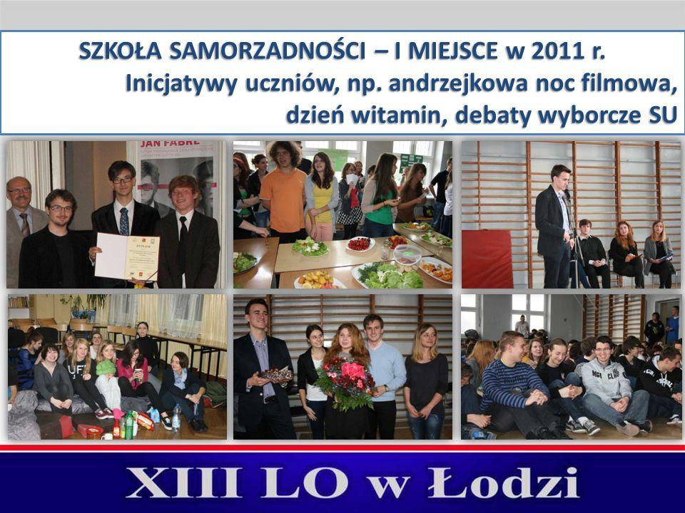 SZKOŁA SAMORZADNOŚCI – I MIEJSCE w 2011 r. Inicjatywy uczniów, np.