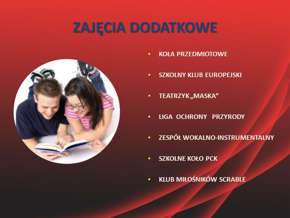"""ZAJĘCIA DODATKOWE KOŁA PRZEDMIOTOWE KOŁA PRZEDMIOTOWE SZKOLNY KLUB EUROPEJSKI SZKOLNY KLUB EUROPEJSKI TEATRZYK """"MASKA"""" TEATRZYK """"MASKA"""" LIGA OCHRONY P"""