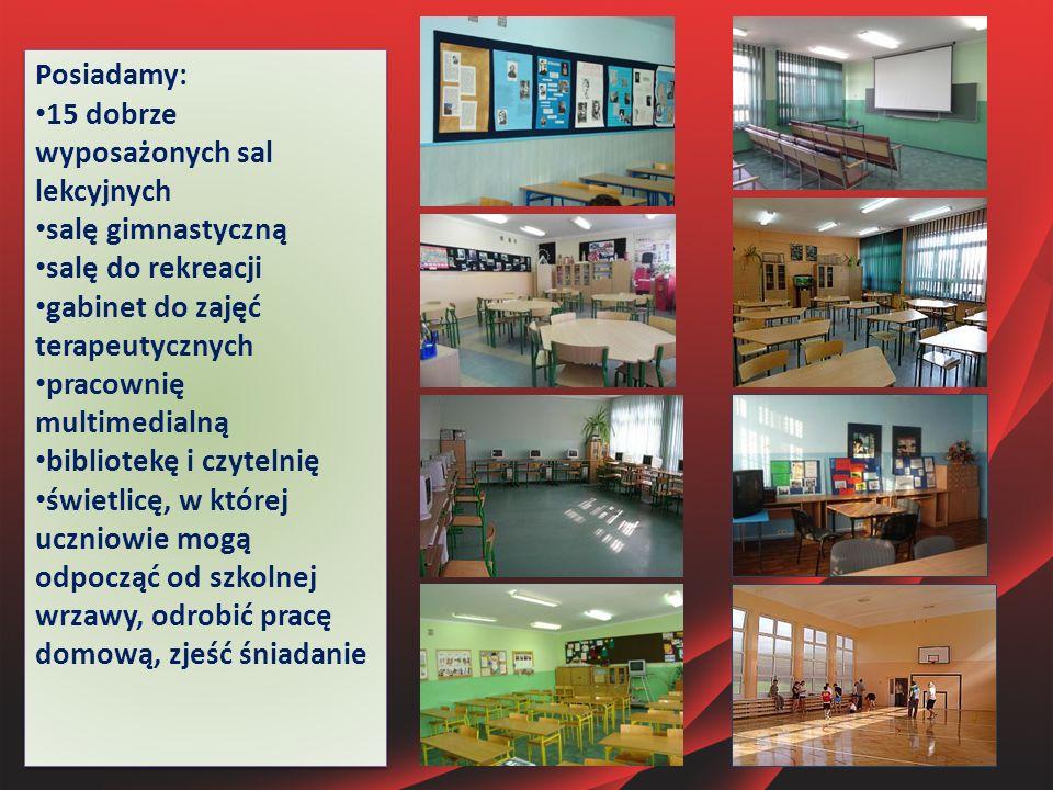 Posiadamy: 15 dobrze wyposażonych sal lekcyjnych salę gimnastyczną salę do rekreacji gabinet do zajęć terapeutycznych pracownię multimedialną bibliote
