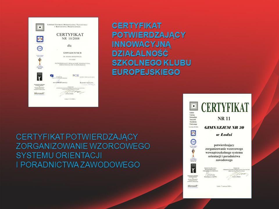 CERTYFIKAT POTWIERDZAJĄCY INNOWACYJNĄ DZIAŁALNOŚĆ SZKOLNEGO KLUBU EUROPEJSKIEGO CERTYFIKAT POTWIERDZAJĄCY ZORGANIZOWANIE WZORCOWEGO SYSTEMU ORIENTACJI