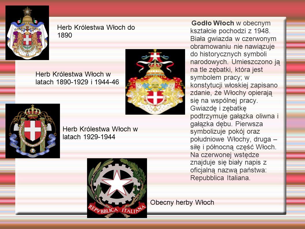 Godło Włoch w obecnym kształcie pochodzi z 1948. Biała gwiazda w czerwonym obramowaniu nie nawiązuje do historycznych symboli narodowych. Umieszczono