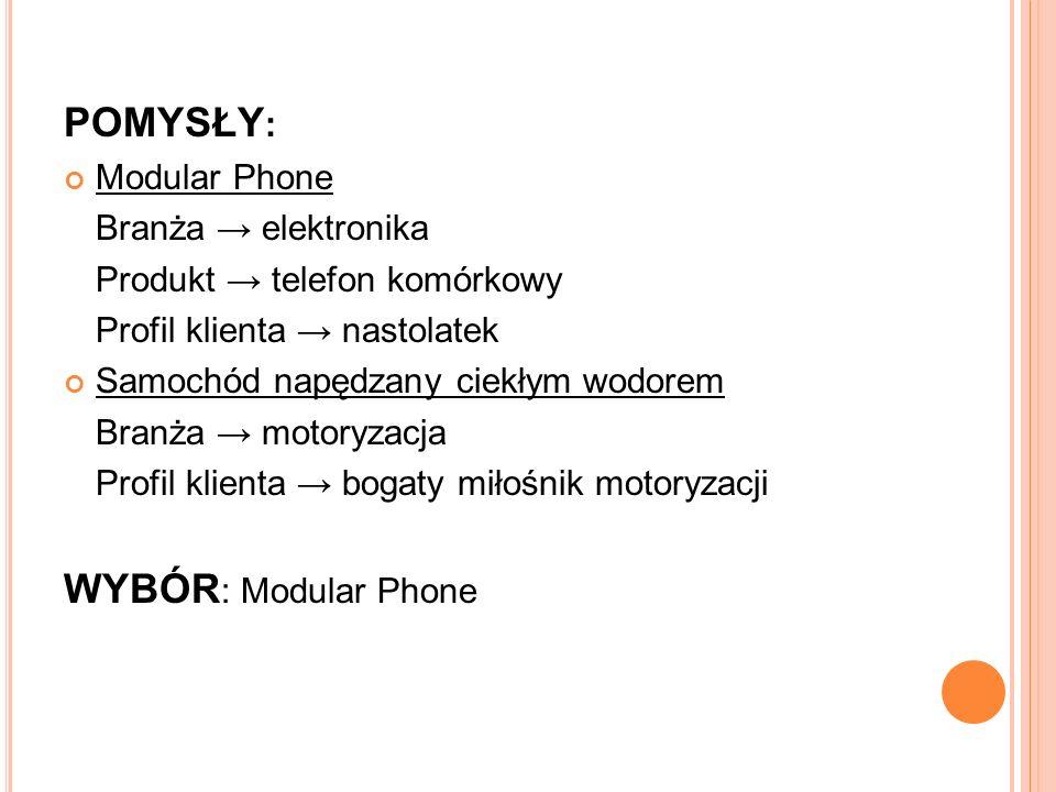 POMYSŁY : Modular Phone Branża → elektronika Produkt → telefon komórkowy Profil klienta → nastolatek Samochód napędzany ciekłym wodorem Branża → motoryzacja Profil klienta → bogaty miłośnik motoryzacji WYBÓR : Modular Phone
