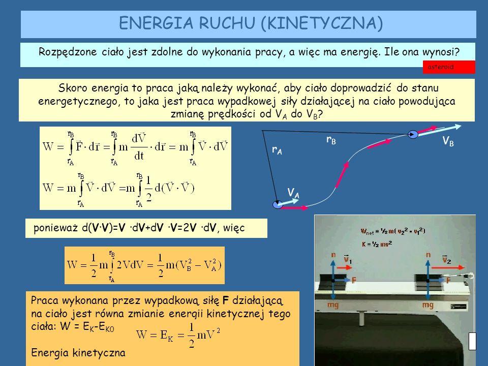 ENERGIA RUCHU (KINETYCZNA) Rozpędzone ciało jest zdolne do wykonania pracy, a więc ma energię.
