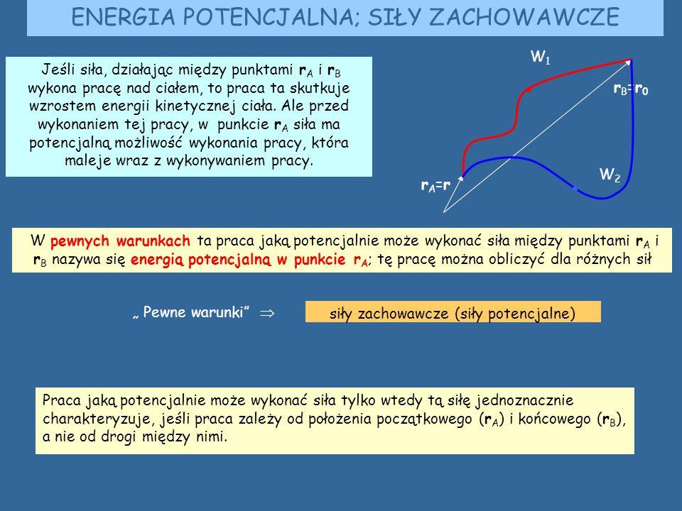 ENERGIA POTENCJALNA; SIŁY ZACHOWAWCZE Jeśli siła, działając między punktami r A i r B wykona pracę nad ciałem, to praca ta skutkuje wzrostem energii kinetycznej ciała.