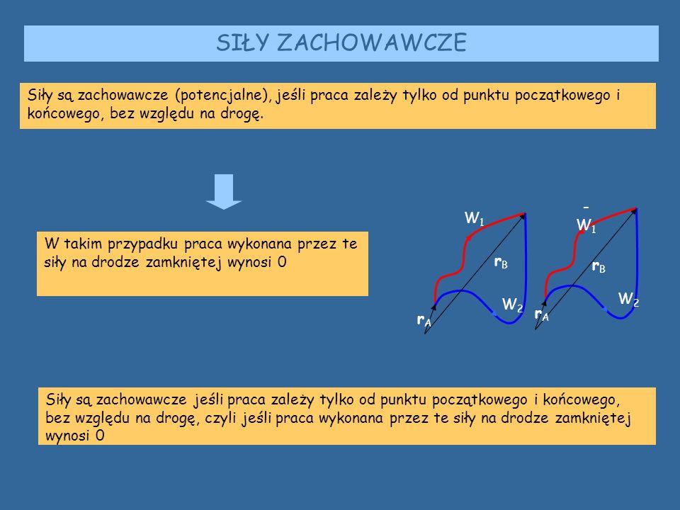 SIŁY ZACHOWAWCZE rArA rBrB W1W1 W2W2 W2W2 -W1-W1 rBrB rArA Siły są zachowawcze (potencjalne), jeśli praca zależy tylko od punktu początkowego i końcowego, bez względu na drogę.