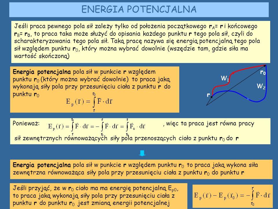 ENERGIA POTENCJALNA Jeśli praca pewnego pola sił zależy tylko od położenia początkowego r A = r i końcowego r B = r 0, to praca taka może służyć do opisania każdego punktu r tego pola sił, czyli do scharakteryzowania tego pola sił.