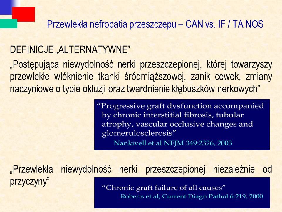 """Przewlekła nefropatia przeszczepu – CAN vs. IF / TA NOS DEFINICJE """"ALTERNATYWNE"""" """"Postępująca niewydolność nerki przeszczepionej, której towarzyszy pr"""