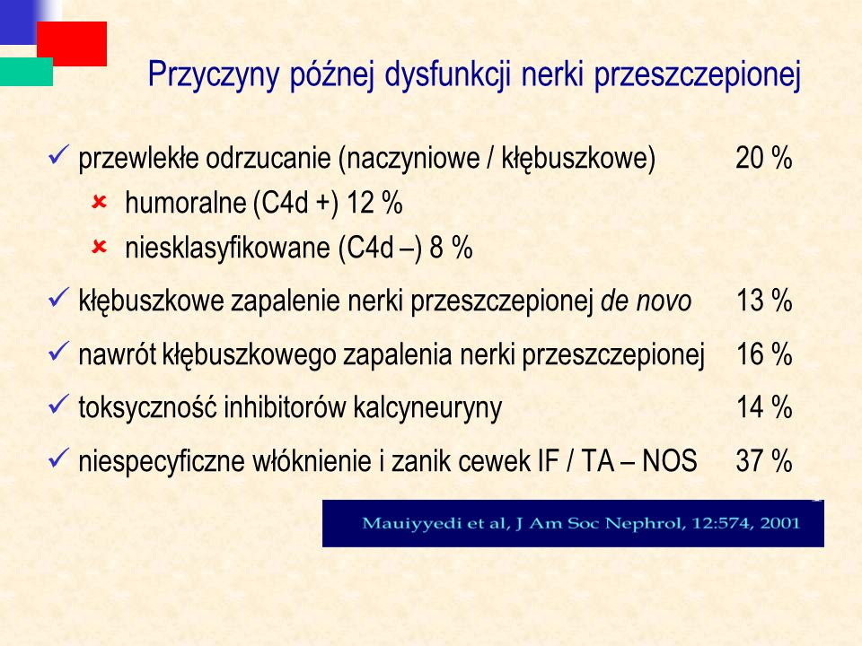 Przyczyny późnej dysfunkcji nerki przeszczepionej przewlekłe odrzucanie (naczyniowe / kłębuszkowe)20 %  humoralne (C4d +) 12 %  niesklasyfikowane (C4d –) 8 % kłębuszkowe zapalenie nerki przeszczepionej de novo 13 % nawrót kłębuszkowego zapalenia nerki przeszczepionej16 % toksyczność inhibitorów kalcyneuryny 14 % niespecyficzne włóknienie i zanik cewek IF / TA – NOS37 %