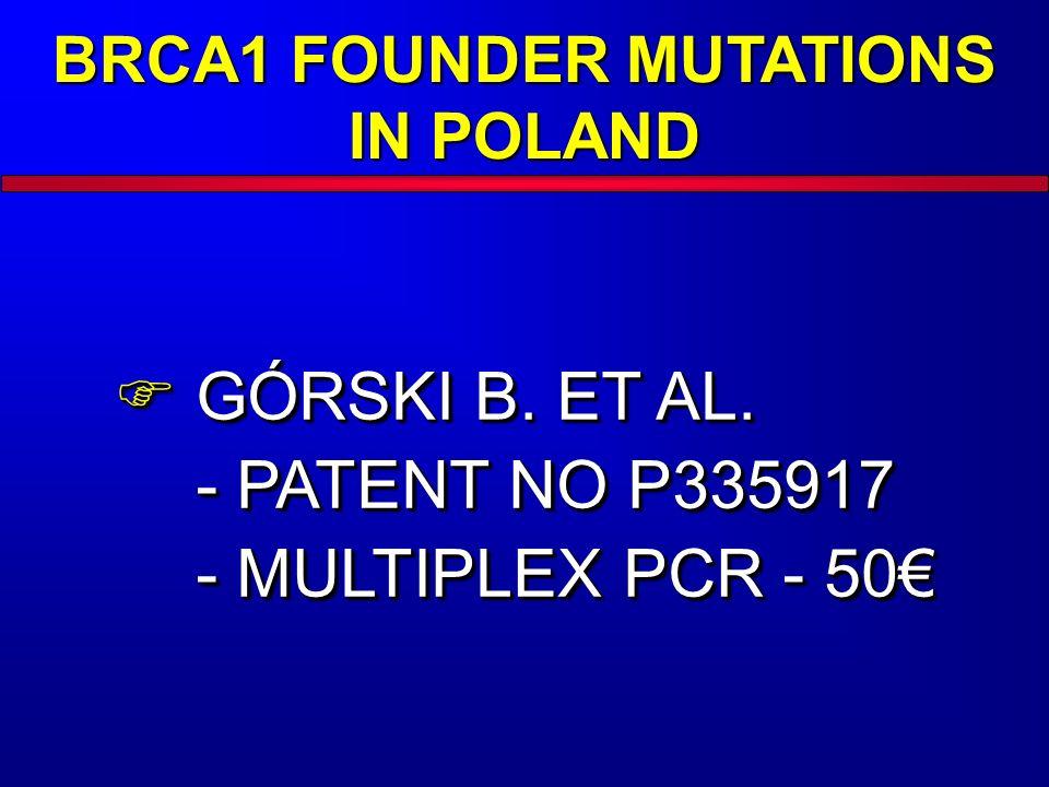 BRCA1 FOUNDER MUTATIONS IN POLAND  GÓRSKI B. ET AL. - PATENT NO P335917 - MULTIPLEX PCR - 50€