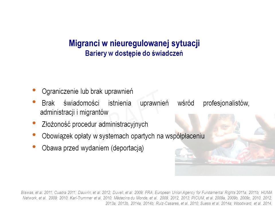 Migranci w nieuregulowanej sytuacji Bariery w dostępie do świadczeń Ograniczenie lub brak uprawnień Brak świadomości istnienia uprawnień wśród profesjonalistów, administracji i migrantów Złożoność procedur administracyjnych Obowiązek opłaty w systemach opartych na współpłaceniu Obawa przed wydaniem (deportacją) Biswas, et al.