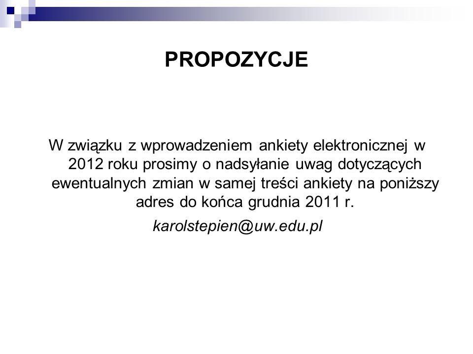 PROPOZYCJE W związku z wprowadzeniem ankiety elektronicznej w 2012 roku prosimy o nadsyłanie uwag dotyczących ewentualnych zmian w samej treści ankiety na poniższy adres do końca grudnia 2011 r.