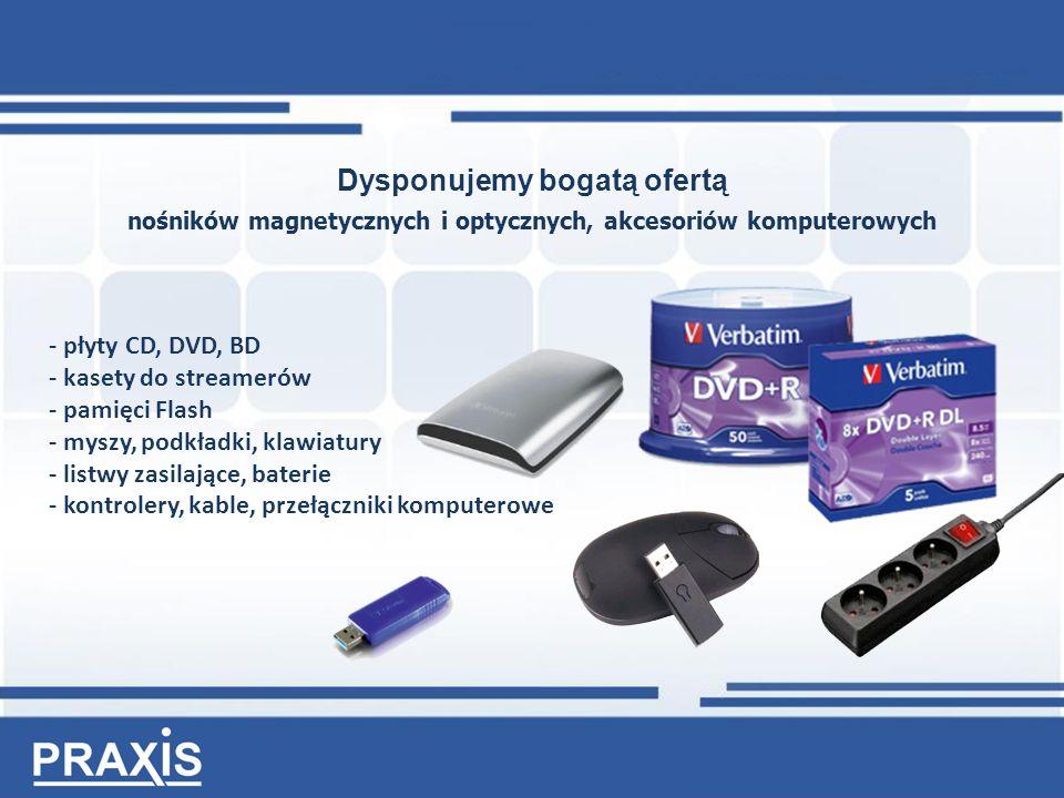 Dysponujemy bogatą ofertą nośników magnetycznych i optycznych, akcesoriów komputerowych - płyty CD, DVD, BD - kasety do streamerów - pamięci Flash - myszy, podkładki, klawiatury - listwy zasilające, baterie - kontrolery, kable, przełączniki komputerowe