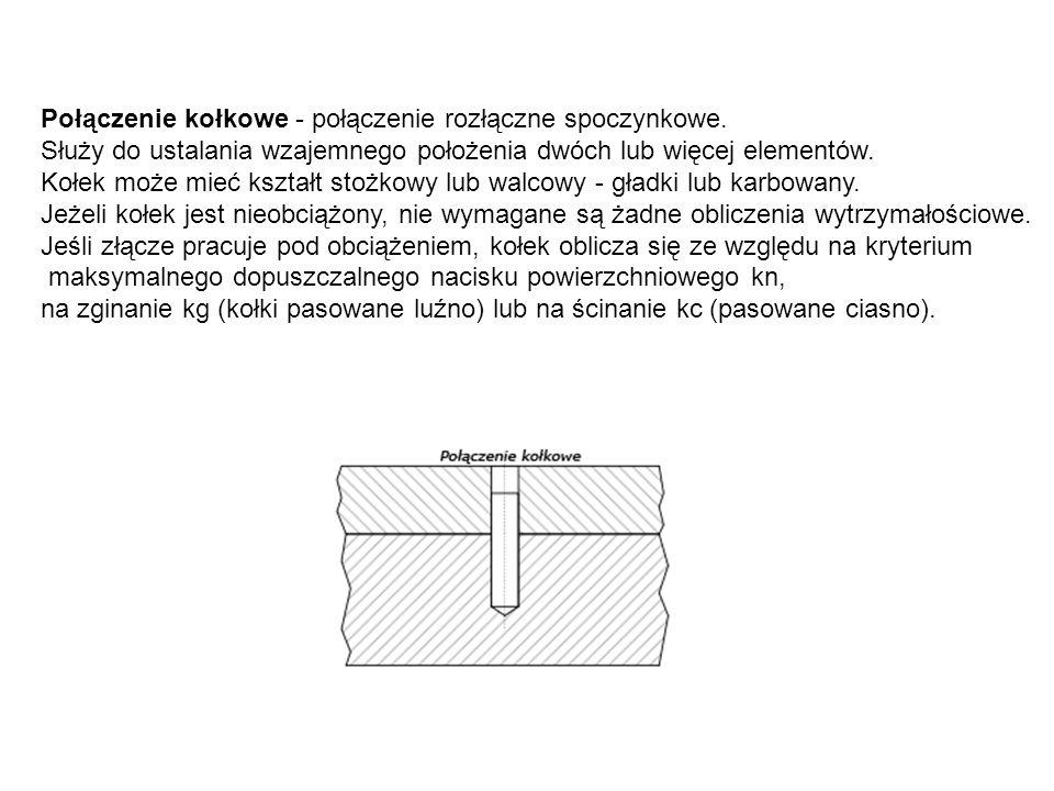 Połączenie kołkowe - połączenie rozłączne spoczynkowe. Służy do ustalania wzajemnego położenia dwóch lub więcej elementów. Kołek może mieć kształt sto
