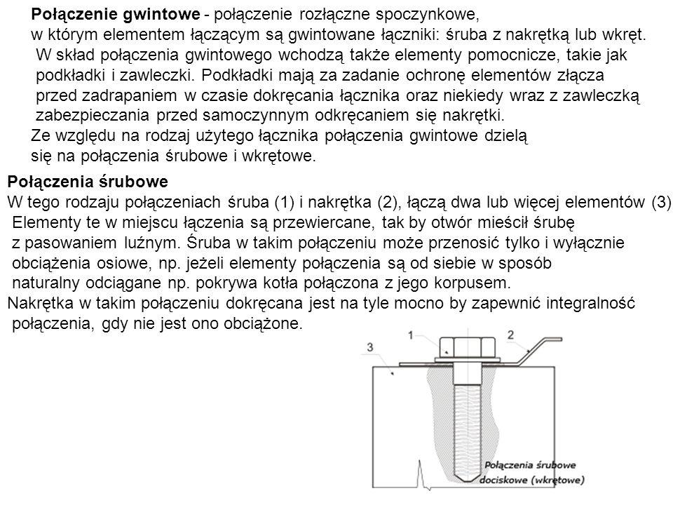 Połączenie gwintowe - połączenie rozłączne spoczynkowe, w którym elementem łączącym są gwintowane łączniki: śruba z nakrętką lub wkręt. W skład połącz