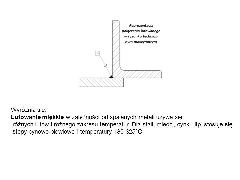 Wyróżnia się: Lutowanie miękkie w zależności od spajanych metali używa się różnych lutów i rożnego zakresu temperatur.