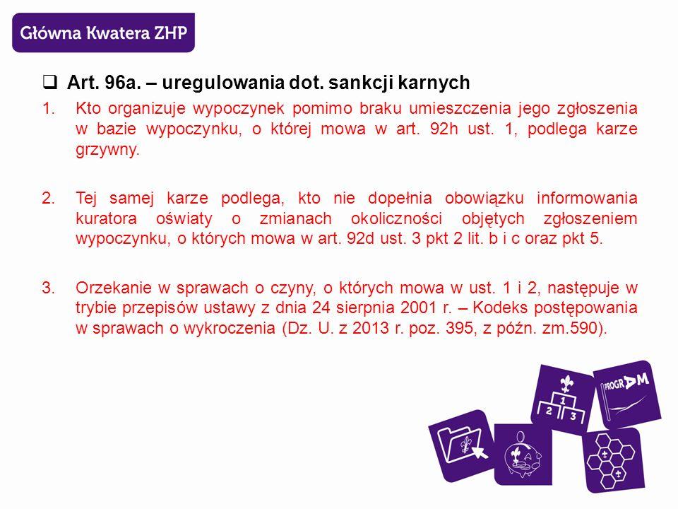  Art. 96a. – uregulowania dot.