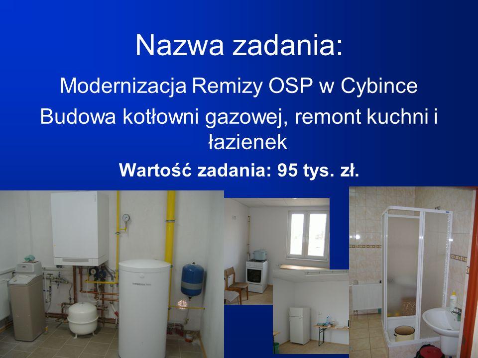 Nazwa zadania: Modernizacja Remizy OSP w Cybince Budowa kotłowni gazowej, remont kuchni i łazienek Wartość zadania: 95 tys.