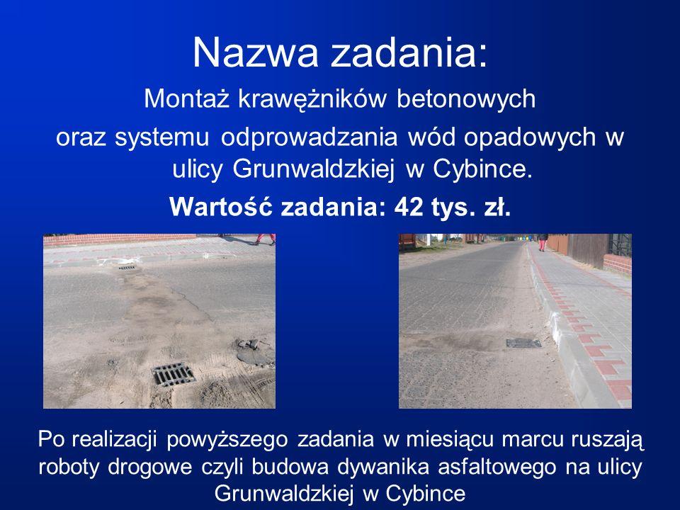 Montaż krawężników betonowych oraz systemu odprowadzania wód opadowych w ulicy Grunwaldzkiej w Cybince.