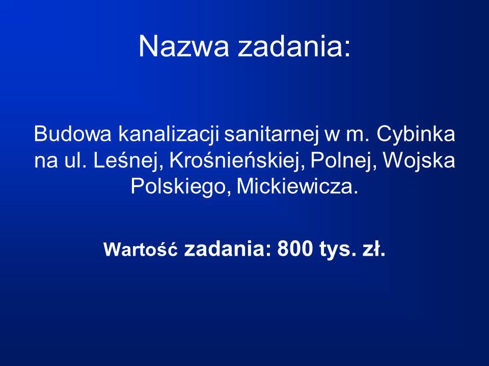 Nazwa zadania: Budowa kanalizacji tłocznej sanitarnej tranzytowej Cybinka – Białków Wartość zadania: 66 tys.