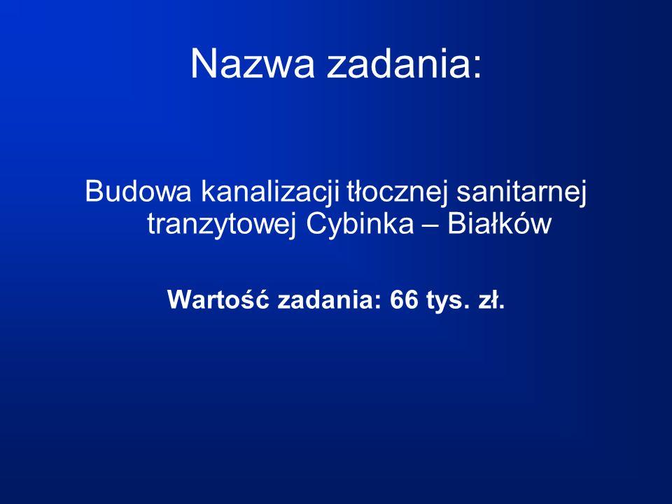 Nazwa zadania: Budowa sieci wodociągowej Bieganów-Rybojedzko. Wartość zadania: 250 tys. zł.