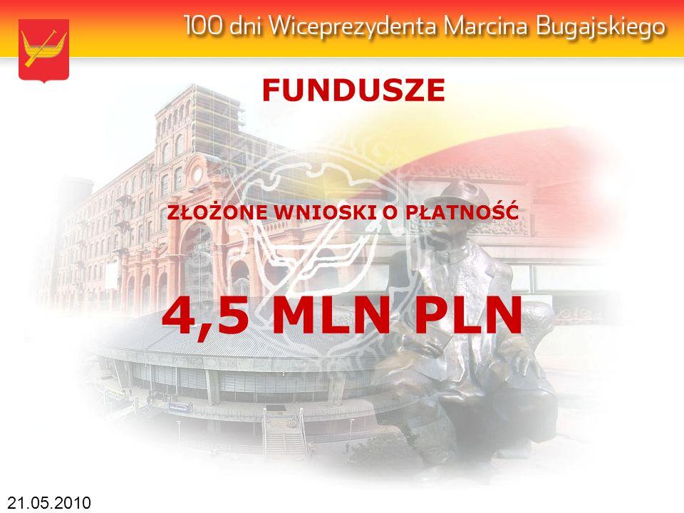 21.05.2010 ZŁOŻONE WNIOSKI O PŁATNOŚĆ 4,5 MLN PLN FUNDUSZE