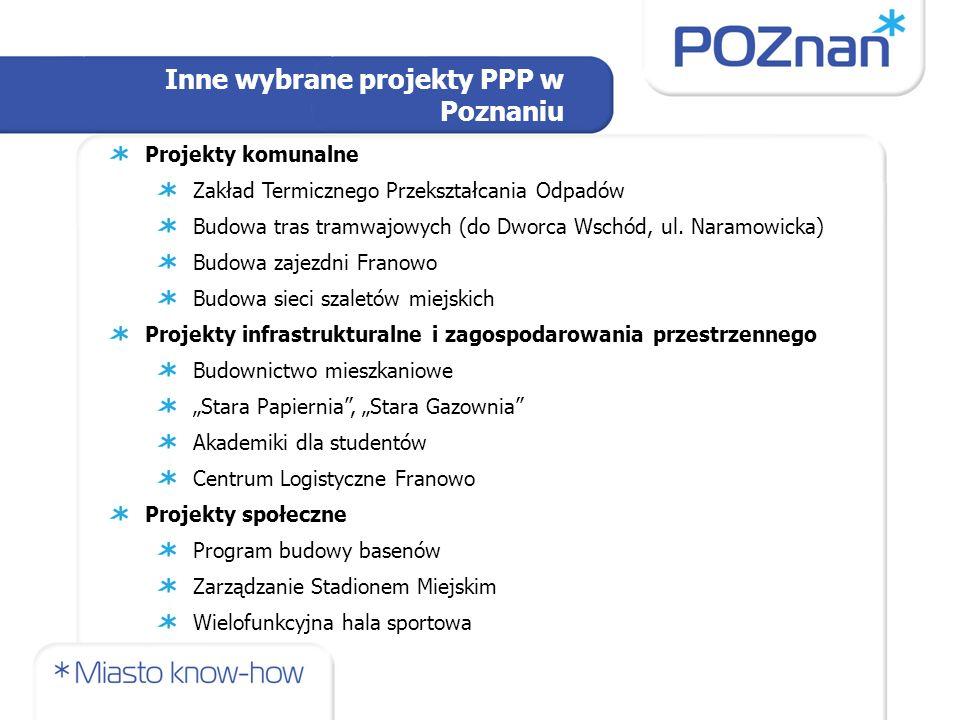 Projekty komunalne Zakład Termicznego Przekształcania Odpadów Budowa tras tramwajowych (do Dworca Wschód, ul.