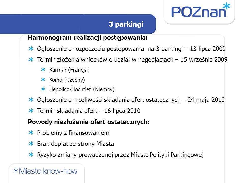 Harmonogram realizacji postępowania: Ogłoszenie o rozpoczęciu postępowania na 3 parkingi – 13 lipca 2009 Termin złożenia wniosków o udział w negocjacjach – 15 września 2009 Karmar (Francja) Koma (Czechy) Hepolico-Hochtief (Niemcy) Ogłoszenie o możliwości składania ofert ostatecznych – 24 maja 2010 Termin składania ofert – 16 lipca 2010 Powody niezłożenia ofert ostatecznych: Problemy z finansowaniem Brak dopłat ze strony Miasta Ryzyko zmiany prowadzonej przez Miasto Polityki Parkingowej 3 parkingi