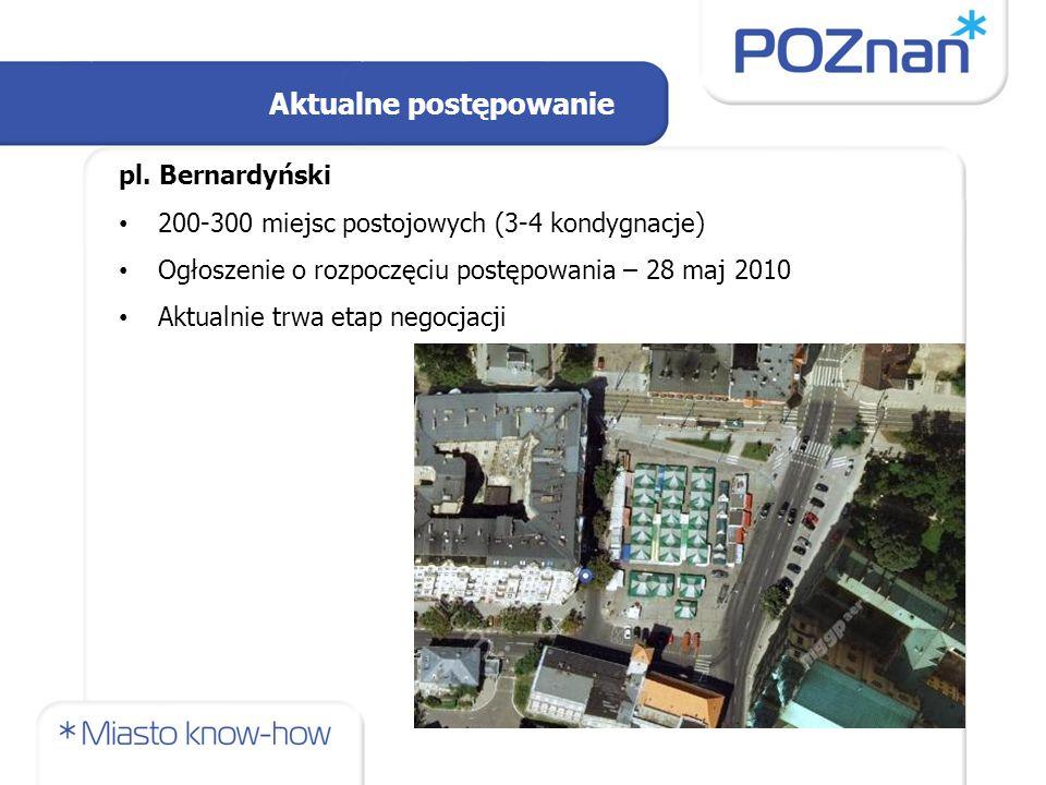 pl. Bernardyński 200-300 miejsc postojowych (3-4 kondygnacje) Ogłoszenie o rozpoczęciu postępowania – 28 maj 2010 Aktualnie trwa etap negocjacji Aktua