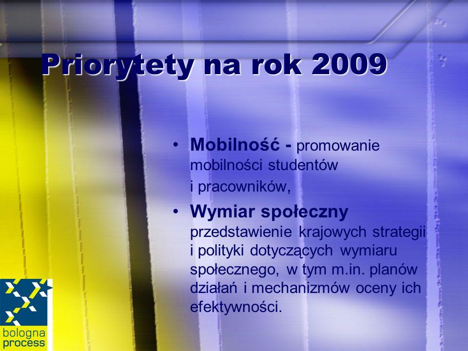 Priorytety na rok 2009 Mobilność - promowanie mobilności studentów i pracowników, Wymiar społeczny przedstawienie krajowych strategii i polityki dotyczących wymiaru społecznego, w tym m.in.