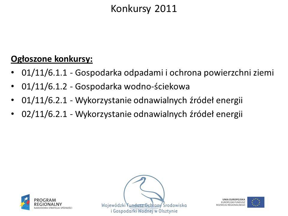 Ogłoszone konkursy: 01/11/6.1.1 - Gospodarka odpadami i ochrona powierzchni ziemi 01/11/6.1.2 - Gospodarka wodno-ściekowa 01/11/6.2.1 - Wykorzystanie