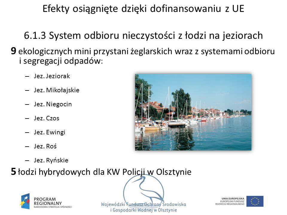 9 ekologicznych mini przystani żeglarskich wraz z systemami odbioru i segregacji odpadów : – Jez. Jeziorak – Jez. Mikołajskie – Jez. Niegocin – Jez. C
