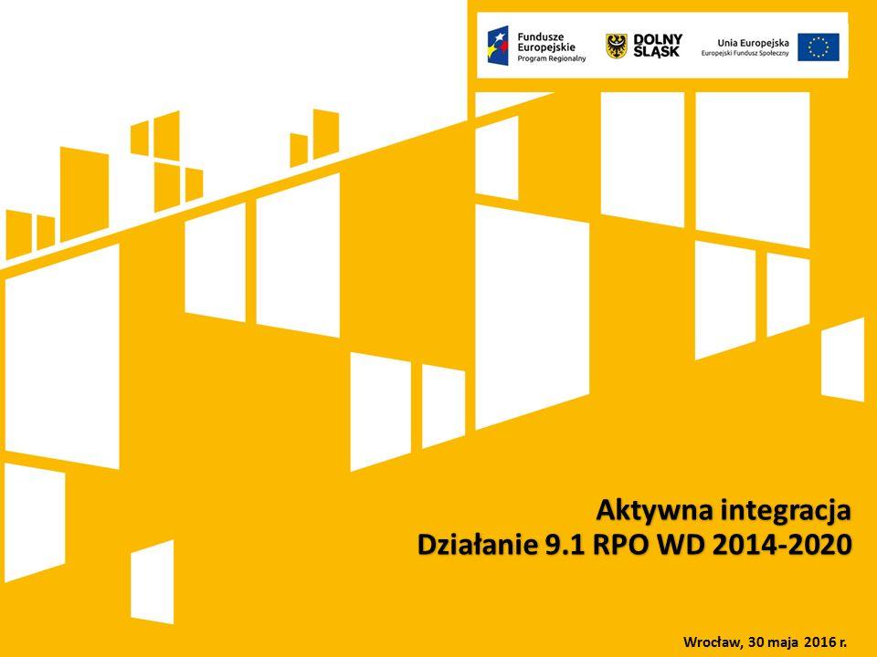 Kliknij, aby dodać tytuł prezentacji Rola Dolnośląskiego Wojewódzkiego Urzędu Pracy we wdrażaniu Europejskiego Funduszu Społecznego w ramach perspektywy finansowej 2007-2013 oraz 2014-2020 Aktywna integracja Działanie 9.1 RPO WD 2014-2020 Wrocław, 30 maja 2016 r.