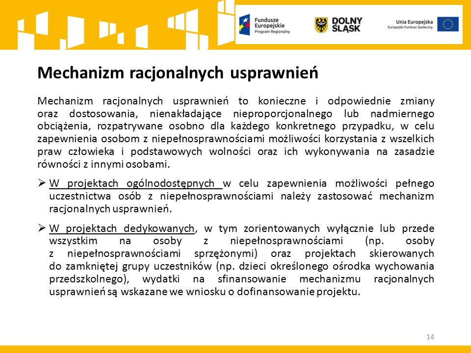 Mechanizm racjonalnych usprawnień 14 Mechanizm racjonalnych usprawnień to konieczne i odpowiednie zmiany oraz dostosowania, nienakładające nieproporcj