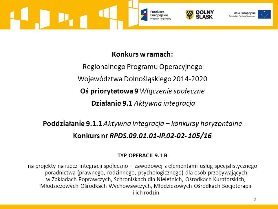 Konkurs w ramach: Regionalnego Programu Operacyjnego Województwa Dolnośląskiego 2014-2020 Oś priorytetowa 9 Włączenie społeczne Działanie 9.1 Aktywna