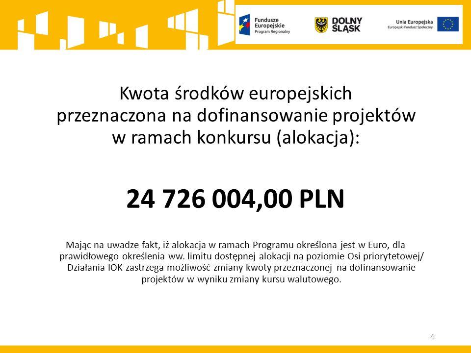 Kwota środków europejskich przeznaczona na dofinansowanie projektów w ramach konkursu (alokacja): 24 726 004,00 PLN Mając na uwadze fakt, iż alokacja w ramach Programu określona jest w Euro, dla prawidłowego określenia ww.