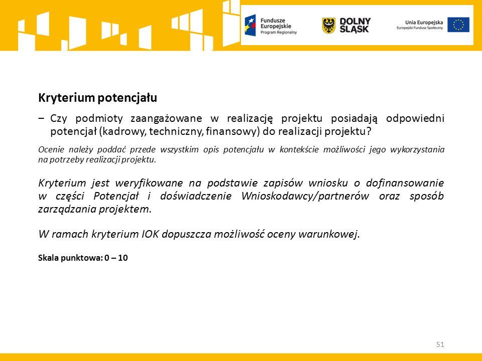 Kryterium potencjału ‒Czy podmioty zaangażowane w realizację projektu posiadają odpowiedni potencjał (kadrowy, techniczny, finansowy) do realizacji pr