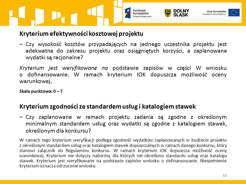 Kryterium efektywności kosztowej projektu ‒Czy wysokość kosztów przypadających na jednego uczestnika projektu jest adekwatna do zakresu projektu oraz osiągniętych korzyści, a zaplanowane wydatki są racjonalne.