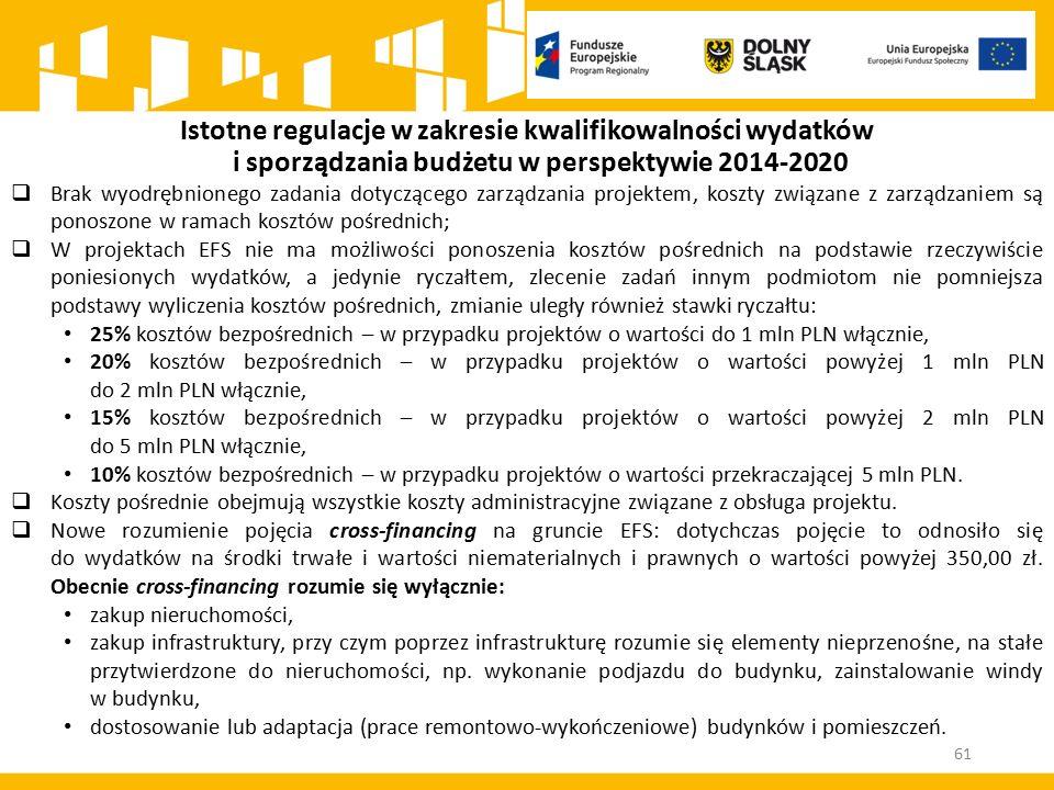 Istotne regulacje w zakresie kwalifikowalności wydatków i sporządzania budżetu w perspektywie 2014-2020  Brak wyodrębnionego zadania dotyczącego zarz
