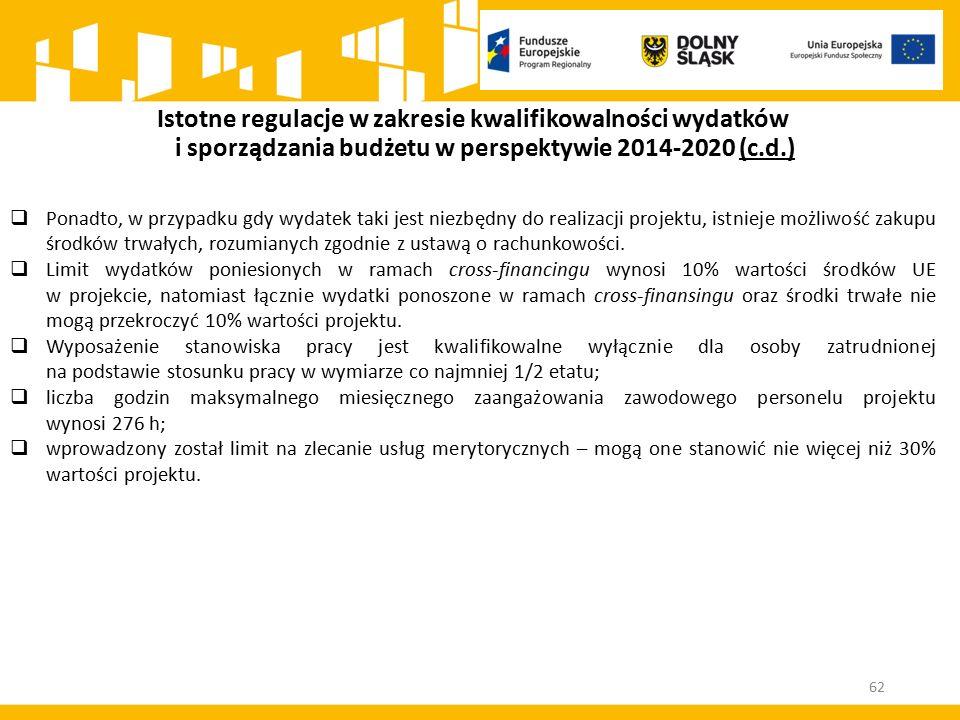 Istotne regulacje w zakresie kwalifikowalności wydatków i sporządzania budżetu w perspektywie 2014-2020 (c.d.)  Ponadto, w przypadku gdy wydatek taki