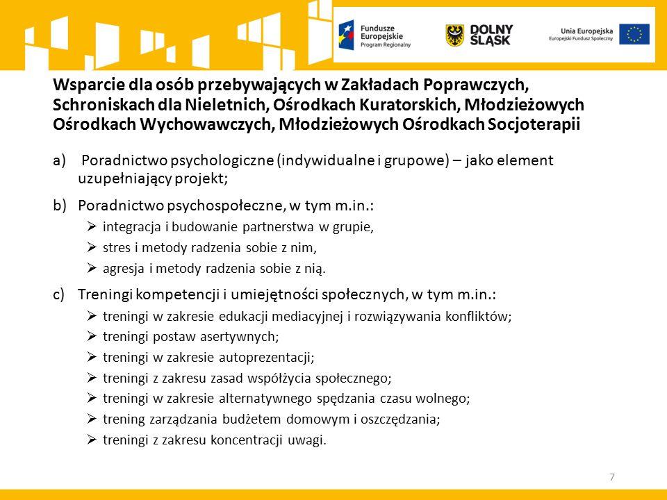 Wsparcie dla osób przebywających w Zakładach Poprawczych, Schroniskach dla Nieletnich, Ośrodkach Kuratorskich, Młodzieżowych Ośrodkach Wychowawczych, Młodzieżowych Ośrodkach Socjoterapii a) Poradnictwo psychologiczne (indywidualne i grupowe) – jako element uzupełniający projekt; b)Poradnictwo psychospołeczne, w tym m.in.:  integracja i budowanie partnerstwa w grupie,  stres i metody radzenia sobie z nim,  agresja i metody radzenia sobie z nią.