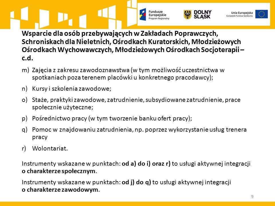 9 m)Zajęcia z zakresu zawodoznawstwa (w tym możliwość uczestnictwa w spotkaniach poza terenem placówki u konkretnego pracodawcy); n)Kursy i szkolenia