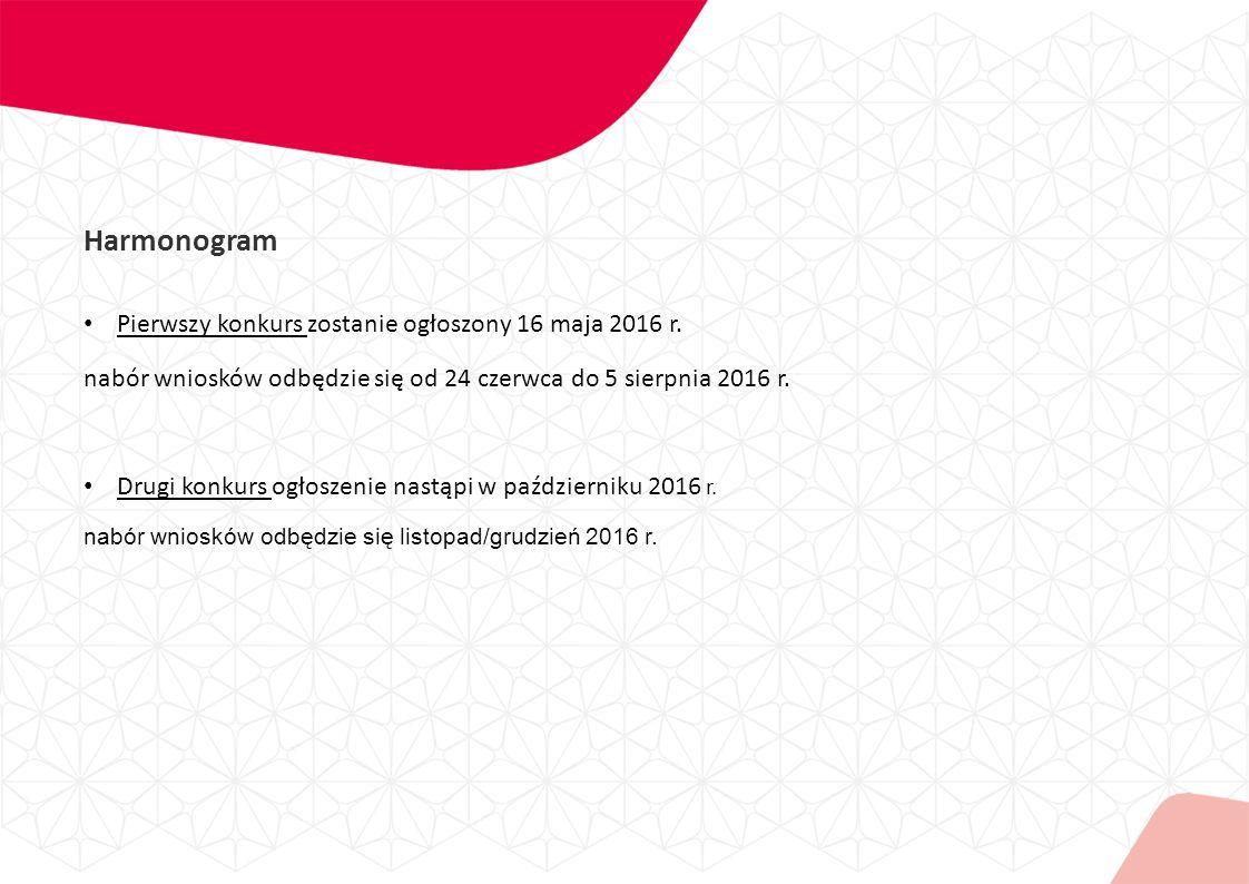 Harmonogram Pierwszy konkurs zostanie ogłoszony 16 maja 2016 r.