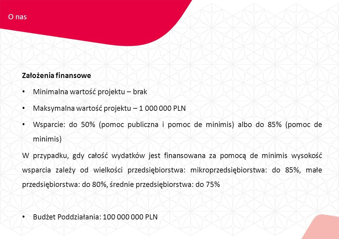 Założenia finansowe Minimalna wartość projektu – brak Maksymalna wartość projektu – 1 000 000 PLN Wsparcie: do 50% (pomoc publiczna i pomoc de minimis) albo do 85% (pomoc de minimis) W przypadku, gdy całość wydatków jest finansowana za pomocą de minimis wysokość wsparcia zależy od wielkości przedsiębiorstwa: mikroprzedsiębiorstwa: do 85%, małe przedsiębiorstwa: do 80%, średnie przedsiębiorstwa: do 75% Budżet Poddziałania: 100 000 000 PLN O nas
