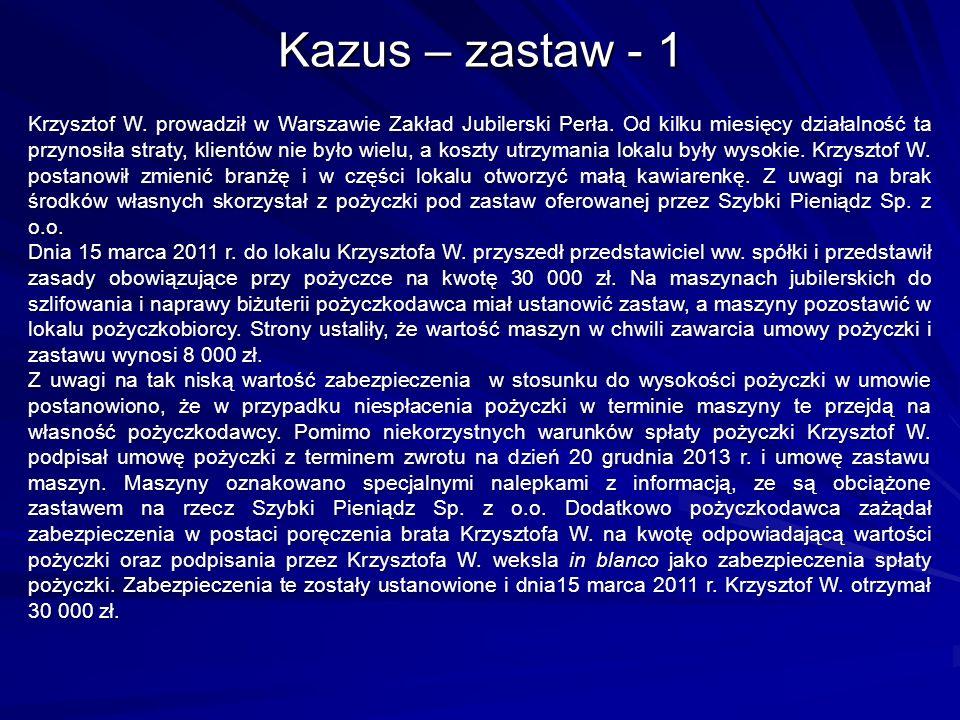 Kazus – zastaw - 1 Krzysztof W. prowadził w Warszawie Zakład Jubilerski Perła.