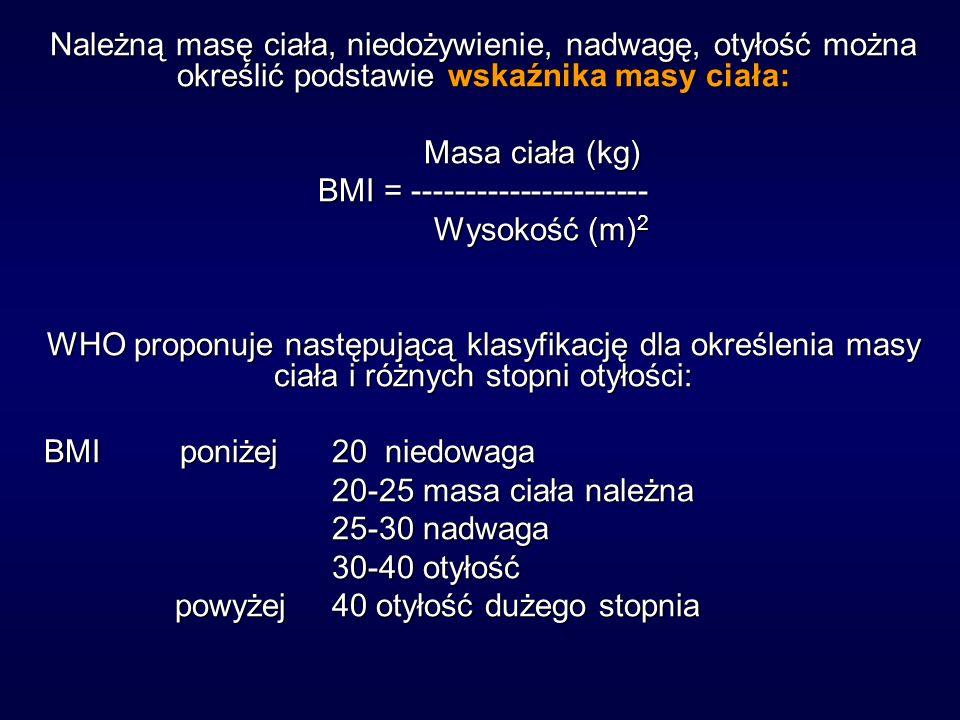 Należną masę ciała, niedożywienie, nadwagę, otyłość można określić podstawie wskaźnika masy ciała: Masa ciała (kg) Masa ciała (kg) BMI = ---------------------- Wysokość (m) 2 Wysokość (m) 2 WHO proponuje następującą klasyfikację dla określenia masy ciała i różnych stopni otyłości: BMI poniżej 20 niedowaga 20-25 masa ciała należna 25-30 nadwaga 30-40 otyłość powyżej 40 otyłość dużego stopnia powyżej 40 otyłość dużego stopnia